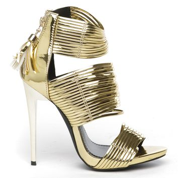 THE BLAME GAME STRAPPY SANDAL -GOLD