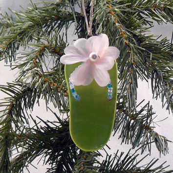 Ceramic Ornament  Flip Flop Lime Green by GrapeVineCeramicsGft