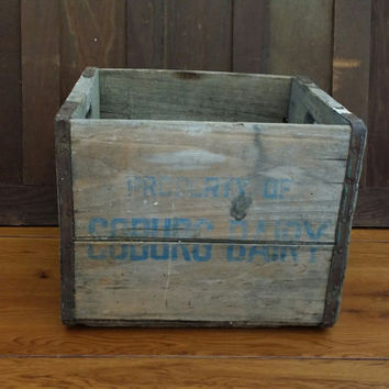 Vintage Coburg Dairy Crate With Metal Strapping Great Advertising Graphics Storage Organization Decor