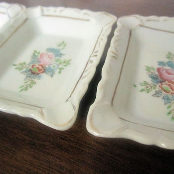 1940s Occupied Japan Hand Painted Trays - set of 3