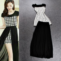 Black Cap Sleeves Plaid Open Front Chiffon Maxi Dress
