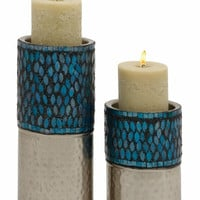 Benzara Unique Set of Two Metal Mosaic Candle Holder