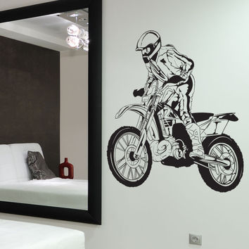 Vinyl Wall Decal Sticker Motocross Racer #1339