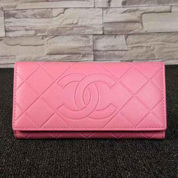 CHANEL Women Multicolor Leather Buckle Wallet Purse