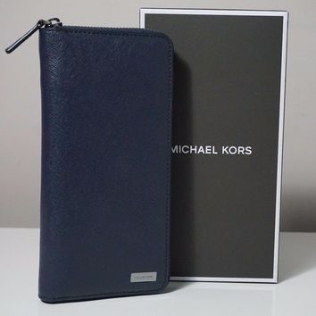 Michael Kors Men's Andy Leather Navy Tech Zip Around Wallet