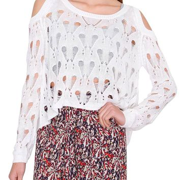 Sweet Spring Cold-Shoulder Sweater Top - White