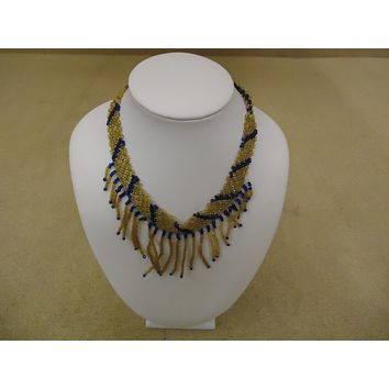 Designer Fashion Necklace 13in L Beaded/Strand Bib Female Adult Browns/Blues -- Used