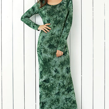 Green Floral Tie-Dye Long Sleeve Dress