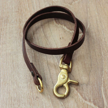 FREE SHIPPING..Leather Lanyard,Lanyard,leather key chain,keyfob ,leather keyring  key fob Brass Ring (MC-35)