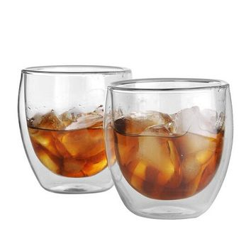 Double-wall Glass Drinking Cups, Set of 2