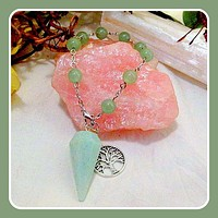 """Growth & Renewal"" Green Aventurine Tree of Life Pendulum Bracelet"