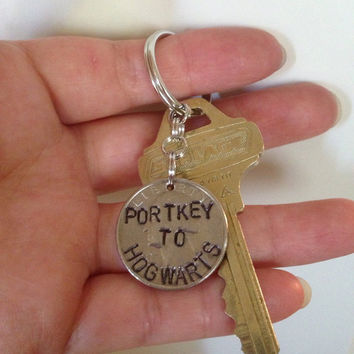 Portkey to Hogwarts Harry Potter Keychain, Necklace, Rear View Mirror Charm, Ornament, or Zipper Pull Handstamped into a Quarter, Stocking