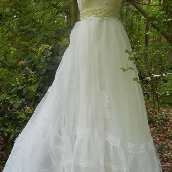 White tulle dress beaded lace wedding  bridesmaid romantic medium by vintage opulence on Etsy