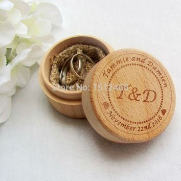 Personalized Round Rustic Wooden Ring Box Ring Bearer