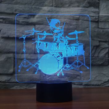 3D Illusion Night Light  LED Light 7 Color with Touch Switch USB Cable Nice Gift Home Office Decorations,Drums