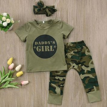 Daddy's Girl 3PC Outfit Camouflage Green
