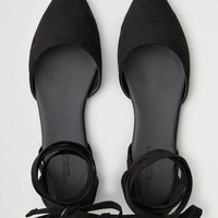 AEO Ankle Tie Pointy Toe Dorsay Flat, Black