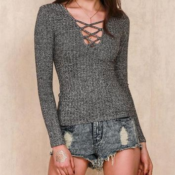 ESBONS V-Neck Strappy Tight knit Sweaters