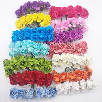 72Pcs/lot 2CM Head Multicolor Paper Artificial Flowers Mini Rose Flower Head Wedding Bouquet Scrapbooking Party Decoration 9Z