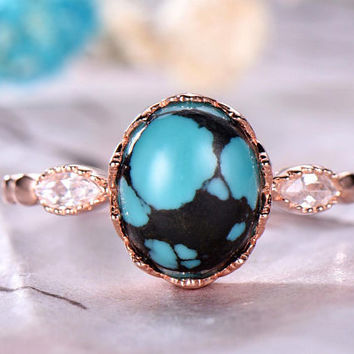 7x9mm Oval Cut Turquoise Engagement Ring,14k Rose Gold band,Anniversary ring,Promise ring,Half Eternity,Claw Prongs,Pave Set,Gift for her