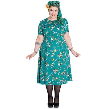60's Vintage Style Nature Love Bird Print Lovely Lady Tea Dress by Hell Bunny