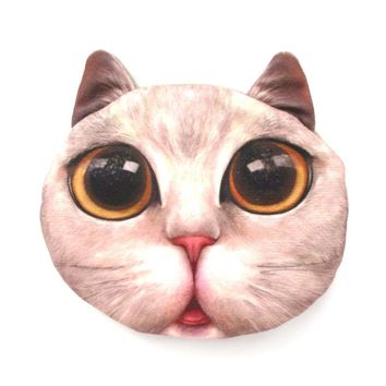 Grey Kitty Cat Face Shaped Soft Fabric Zipper Coin Purse Make Up Bag with Large Wide Eyes