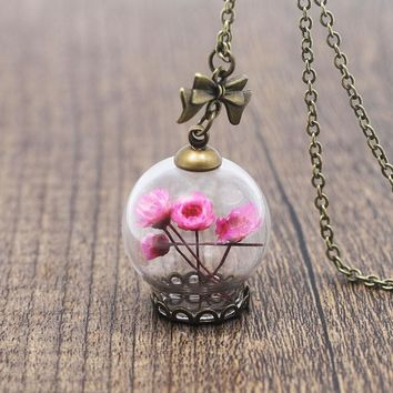 Romantic Love Glass Wishing Bottle Pendant Necklace Women Blue Rose Yellow Natural Flower Necklace Jewelry Girl Friend Gift