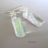 Starlight Handmade Dichroic Glass Dangle Earrings Clear Opalescent and Sparkling Fused Glass Jewelry
