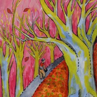 Pink Sky and Trees Hiking Woods Trail Mixed Media Painting - Indie Art