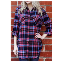 """Cozy Me"" Tribal Dream Catcher Back Pink Plaid Flannel Top"