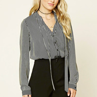 Striped Tie-Neck Shirt