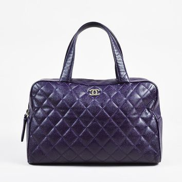 Chanel Purple Caviar Leather Quilted Top Handle Tote Bag