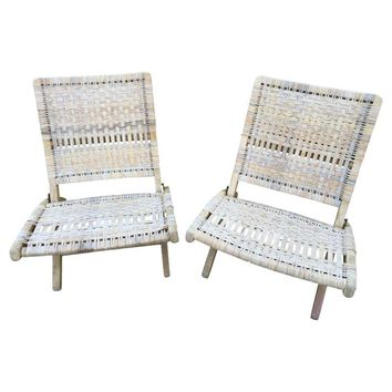 Pre-owned Wegner Style Mid-Century Folding Chairs - A Pair