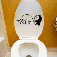 Happy Gifts Cute Penguin Wall Stickers Bathroom Docer Removable DIY Bathroom Sticker Mural Home Decal Decor For Toilet