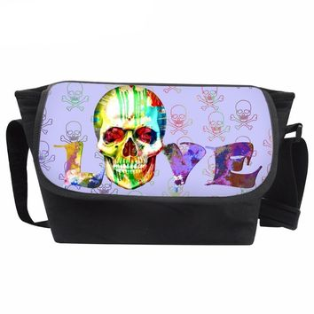 Messenger Bags Casual Shoulder Bags Love Skull Pattern Canvas Crossbody Bags