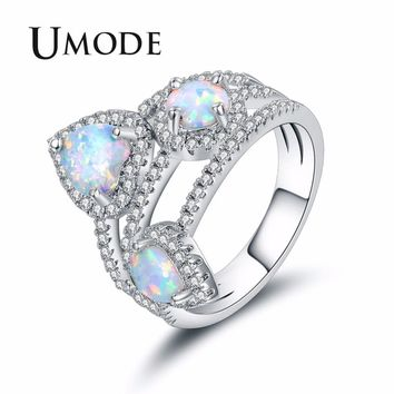 UMODE Fashionable White Fire Opal 3 Rings for Womens Heart Round Princess Cut Jewelry Femme Wedding Bands Accessories UR0417