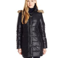 Big Chill Women's Mid-Length Puffer Coat with Faux Fur-Trimmed Hood