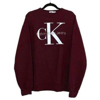 Calvin klein Jeans Women Men Fashion Long Sleeve Pullover Sweatshirt Top Sweater Wine red