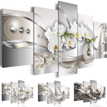 ( No Frame ) Canvas Print Modern Abstract Floral Flower Orchid Painting Home Decoration (Color:3,Size:3)