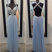 Cross Back Blue Chiffon Prom Dresses
