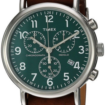 Timex Weekender Chronograph Slip-Thru Strap Watch Brown/Green