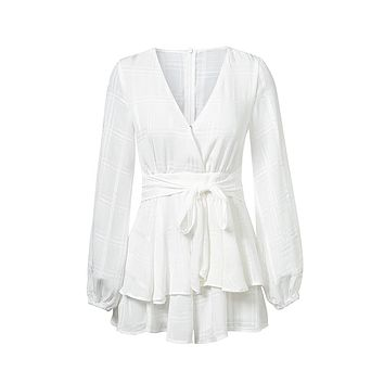 Playing It Cool White Plaid Pattern Long Sleeve Cross Wrap V Neck Tie Waist Ruffle Tiered Romper Playsuit