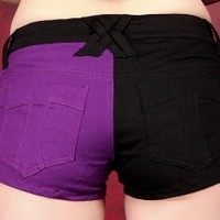Tripp Split Shorts - Black/Purple :: VampireFreaks Store :: Gothic Clothing, Cyber-goth, punk, metal, alternative, rave, freak fashions