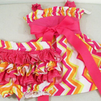 Baby Girls Dress/ruffled panties-Chevron Halter-#227