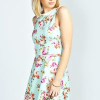 Megan Floral Collar Skater Dress