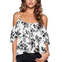 AMUSE SOCIETY Lena Woven Top in Aloha White
