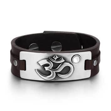 OM Ancient Tibetan Amulet Magic Powers Tag White Simulated Cats Eye Adjustable Brown Leather Bracelet