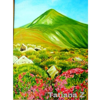 "Green Hill - original oil painting 11,8""-15,75""  (30cm -40 cm) oil cardboard landscape green"