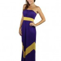 Game Day Chevron Maxi Dress - Purple And Gold