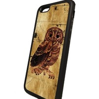 Vintage owl Iphone 6 rubber case Black Flexible Soft TPU Case Slim Case for iPhone 6 (4.7 inch)
